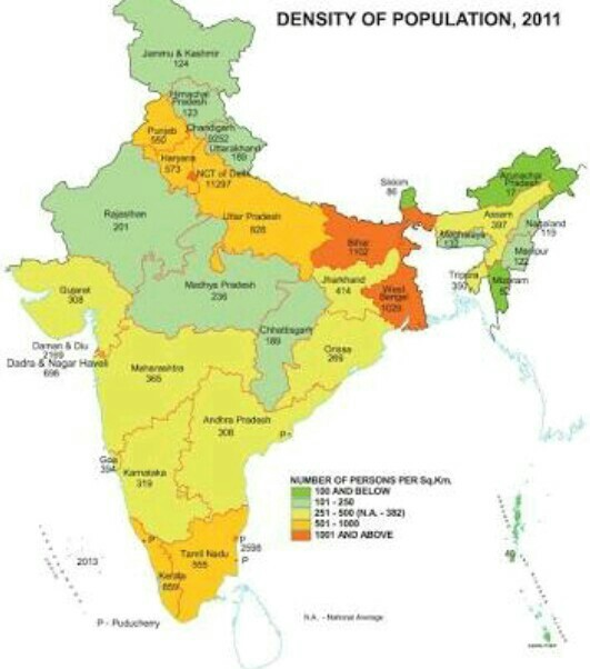 India Map 2017.Map On Density Of Population Of India 2017 Brainly In