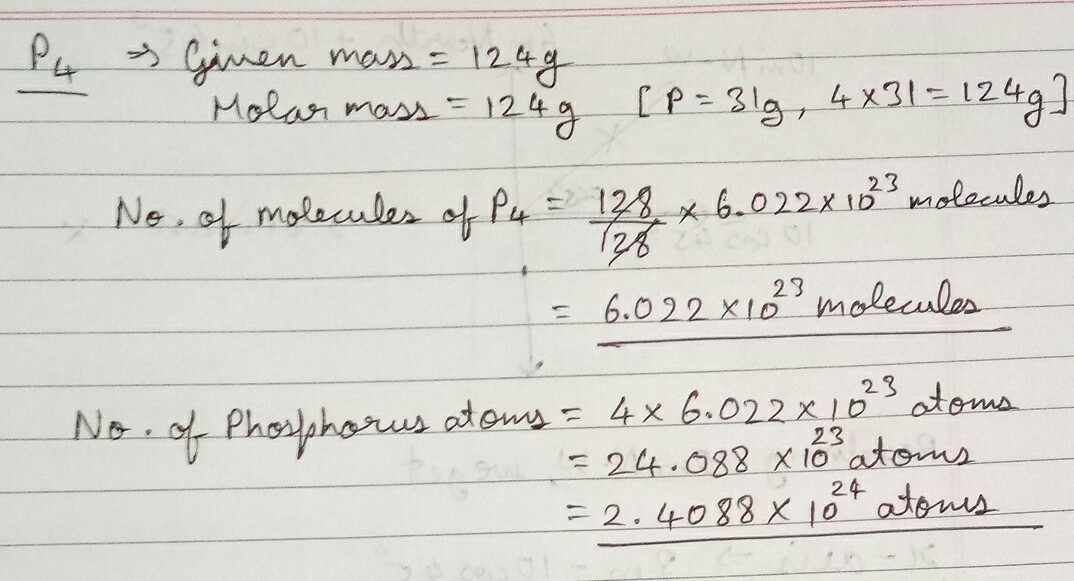 How many atoms and molecule of phosphorus are present i n