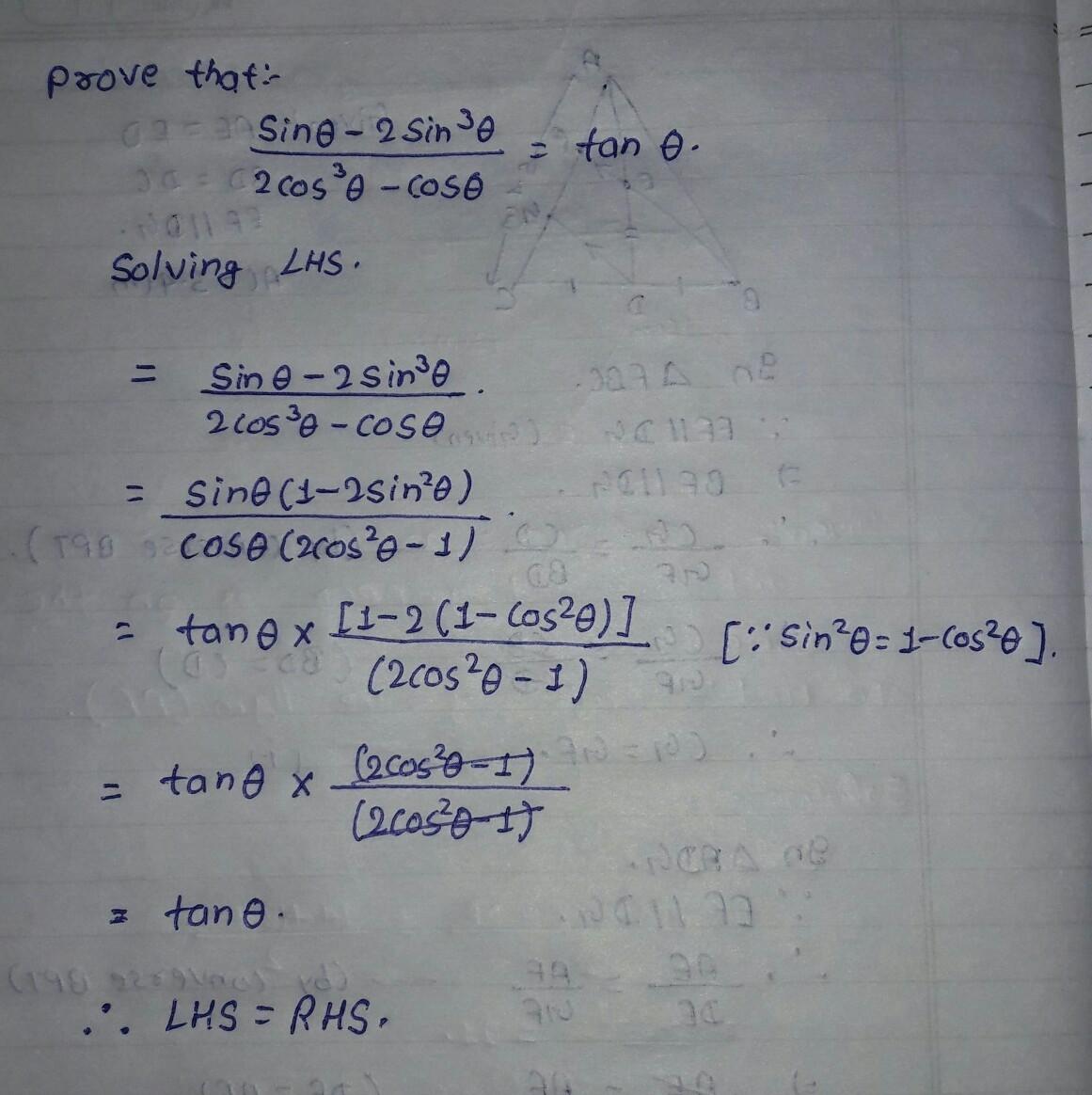 Prove Sin Theta 2sin Cube Theta 2cos Cube Theta Cos Theta Tan Theta Brainly In