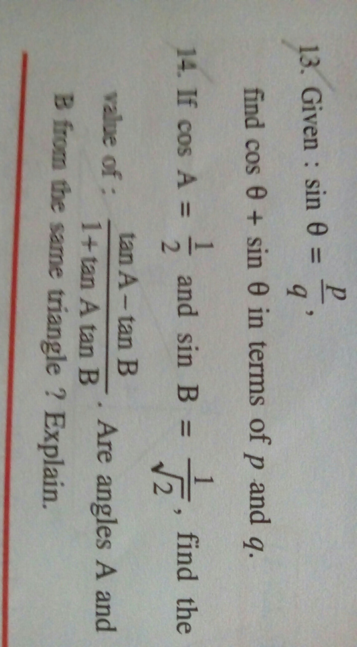 Trigonometry question : Please solve both questions with steps Who