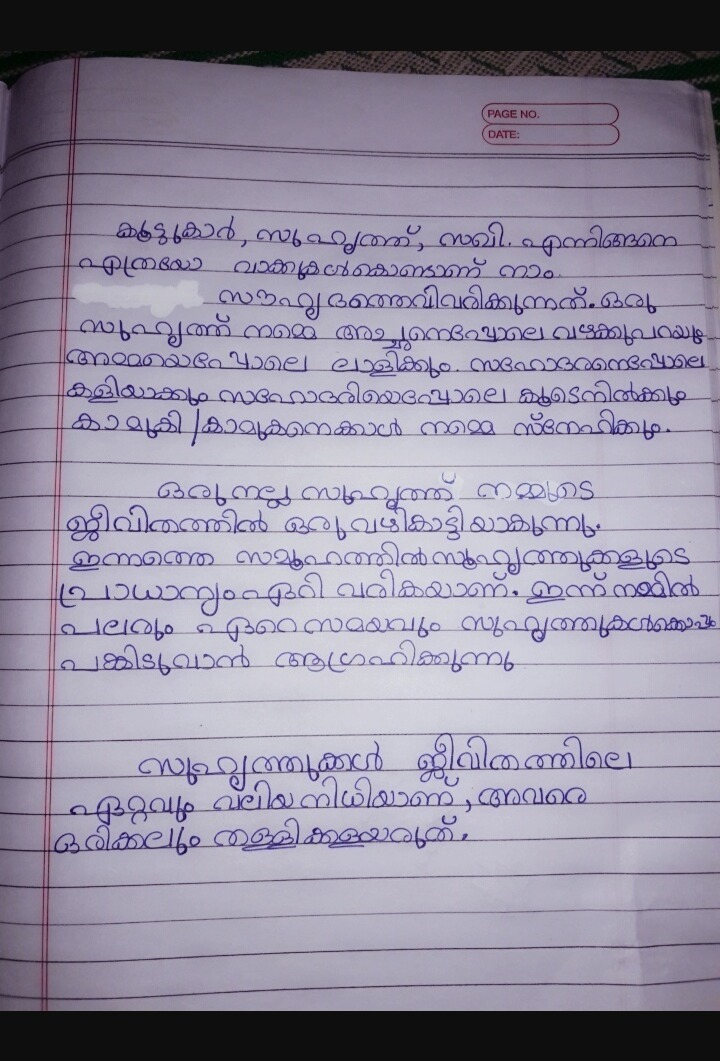 short essay on friendship(100-200 words) in MALAYALAM