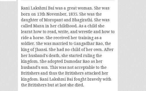 short story of rani laxmi bai