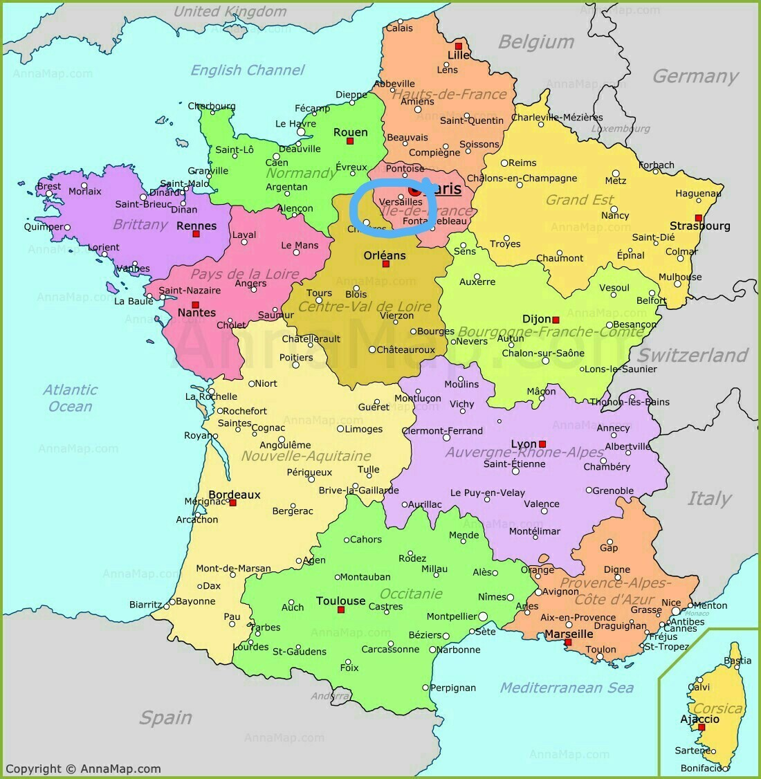 Map Of France Versailles.Where Are Bastille And Versailles Located On The France Political