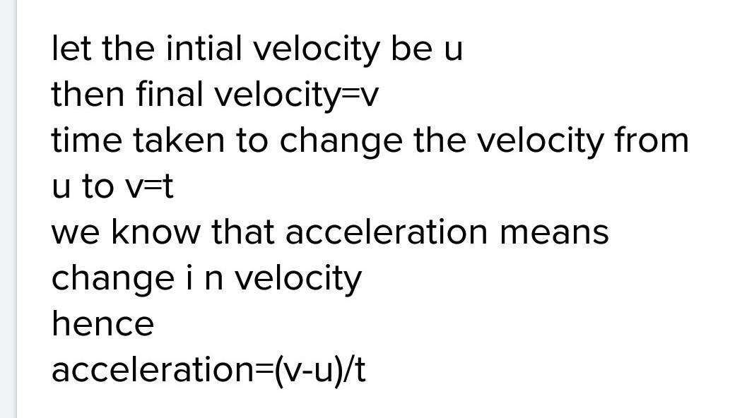 Write The Formula For Acceleration Give The Meaning Of Each Symbol