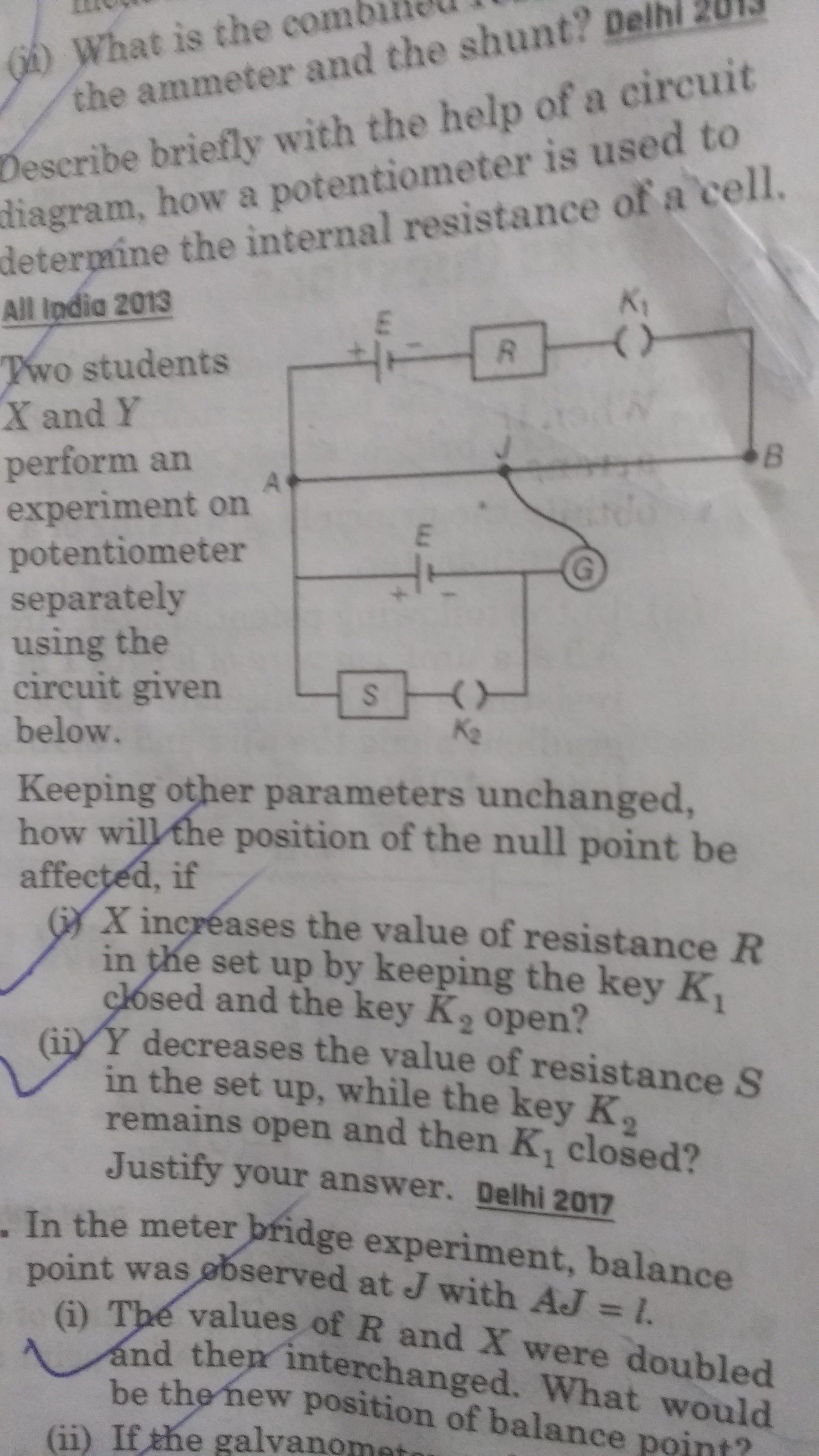 How is the null point shifted when resistance R is increased? And ...