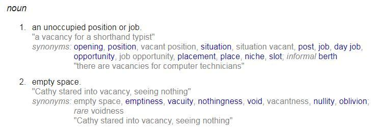 Word meaning of word vacancy - Brainly in