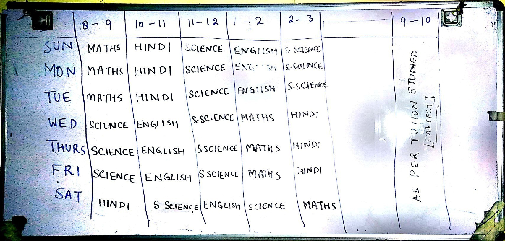 Make the time table  12 class science