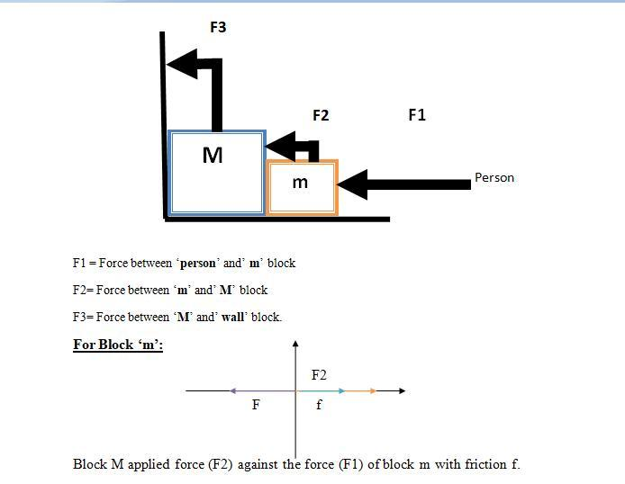 The person applies F force horizontally on the smaller block as