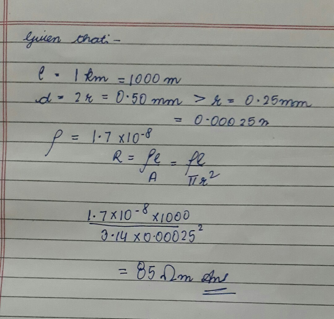 Calculate the resistance of a copper wire 1.0 km long , 0.50 mm ...