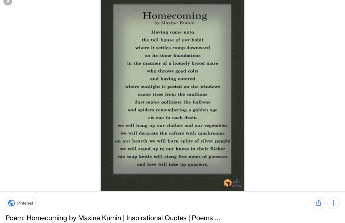 Suggest A Poem Or Song That Talks About Homecoming Brainlyin