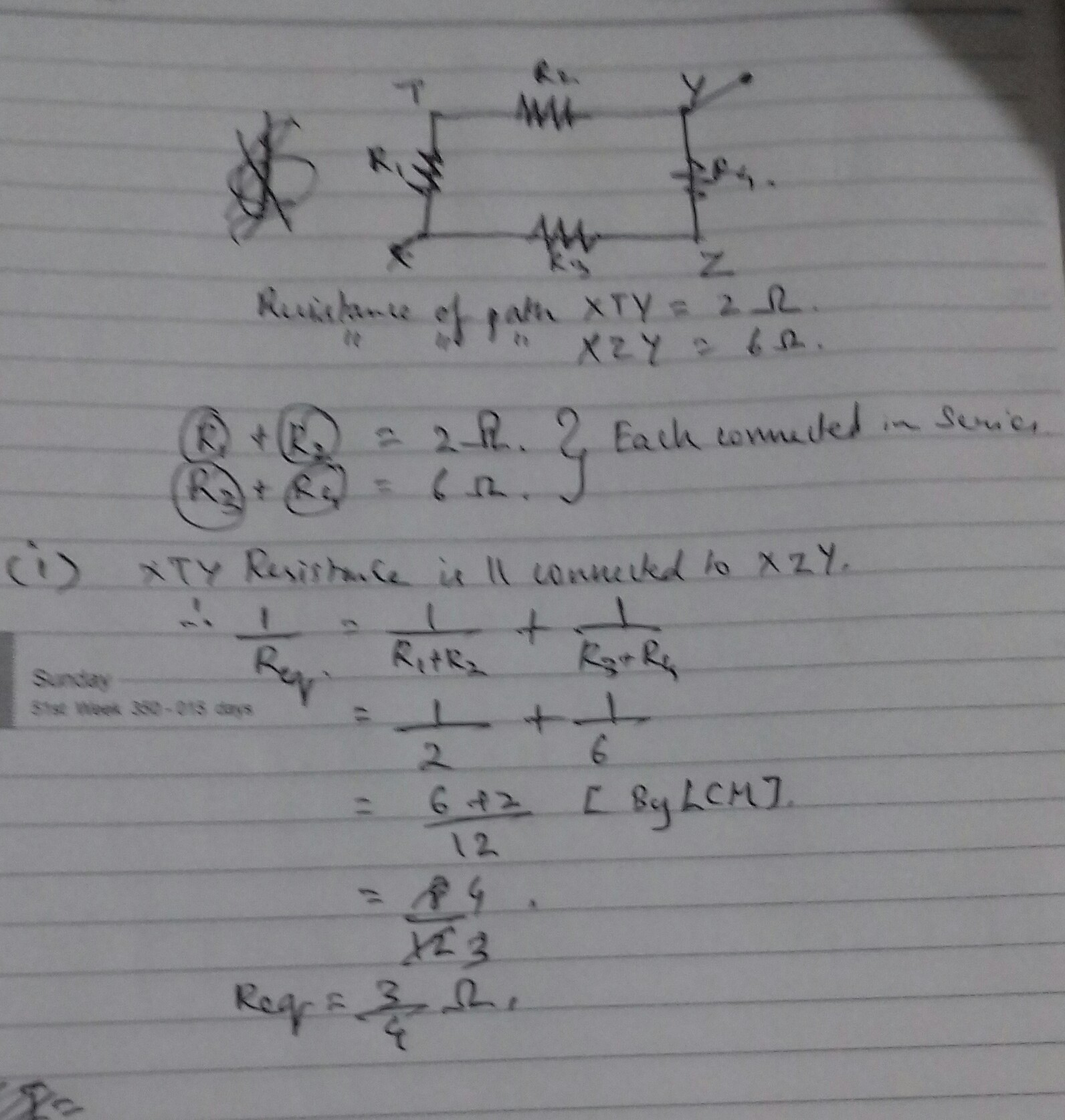 In Circuit Given Below Resistance Of Path Xty 2ohm And That Xzy 6