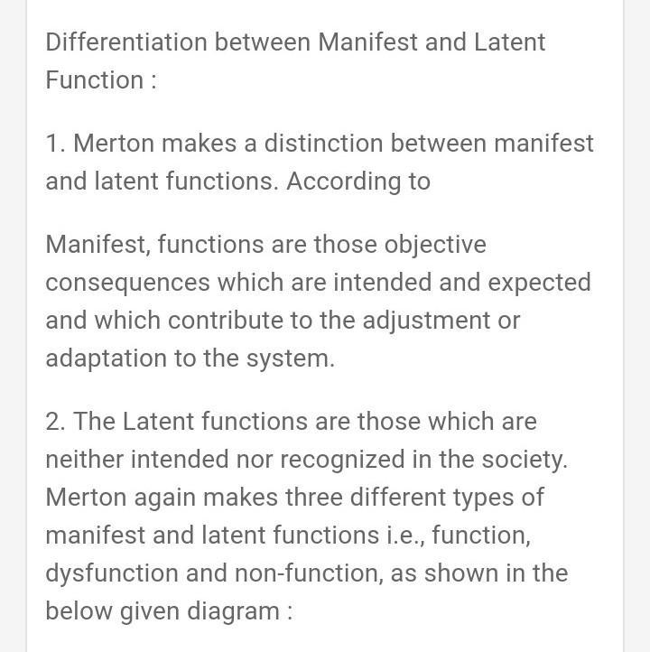 Functions manifest and sociology latent Difference Between