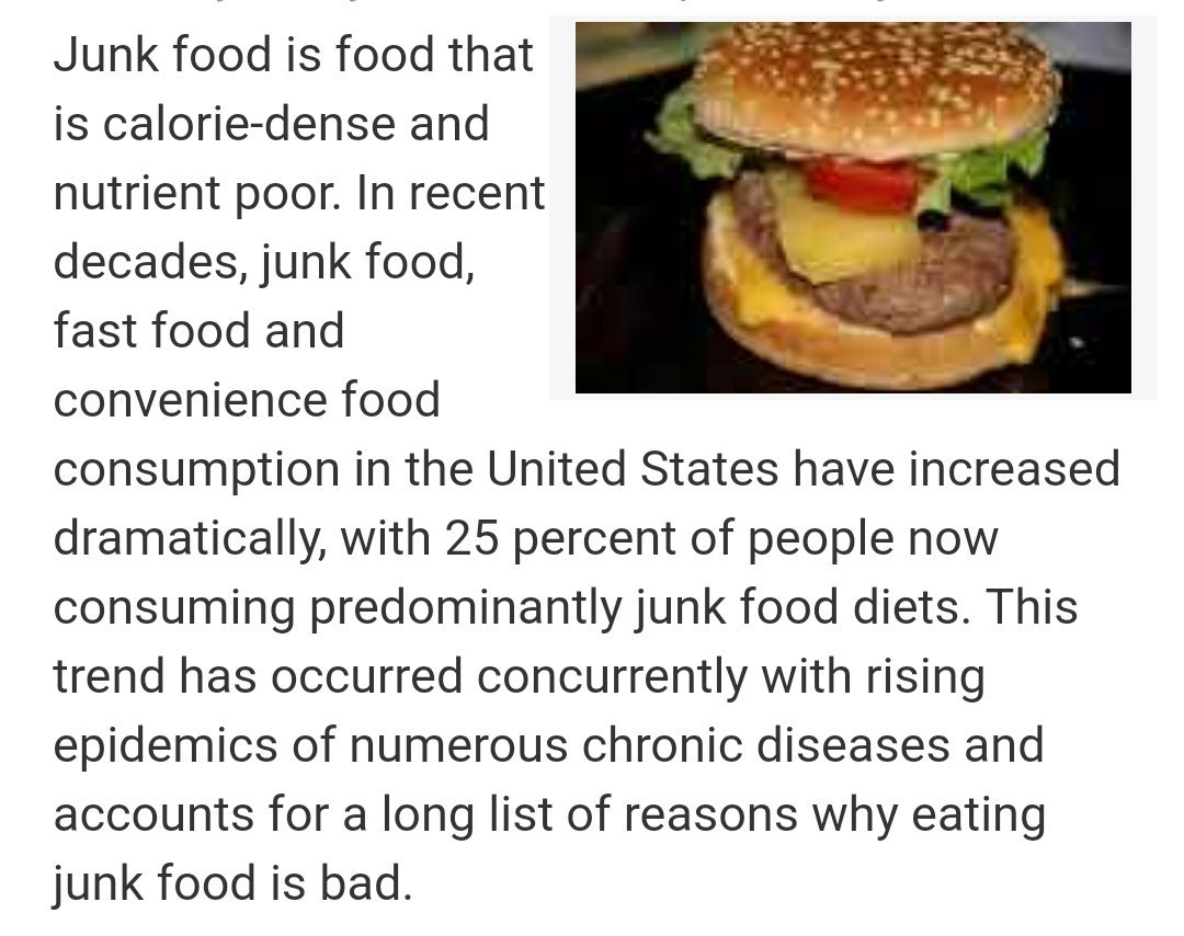 Fast food is not good for health compose a story with the
