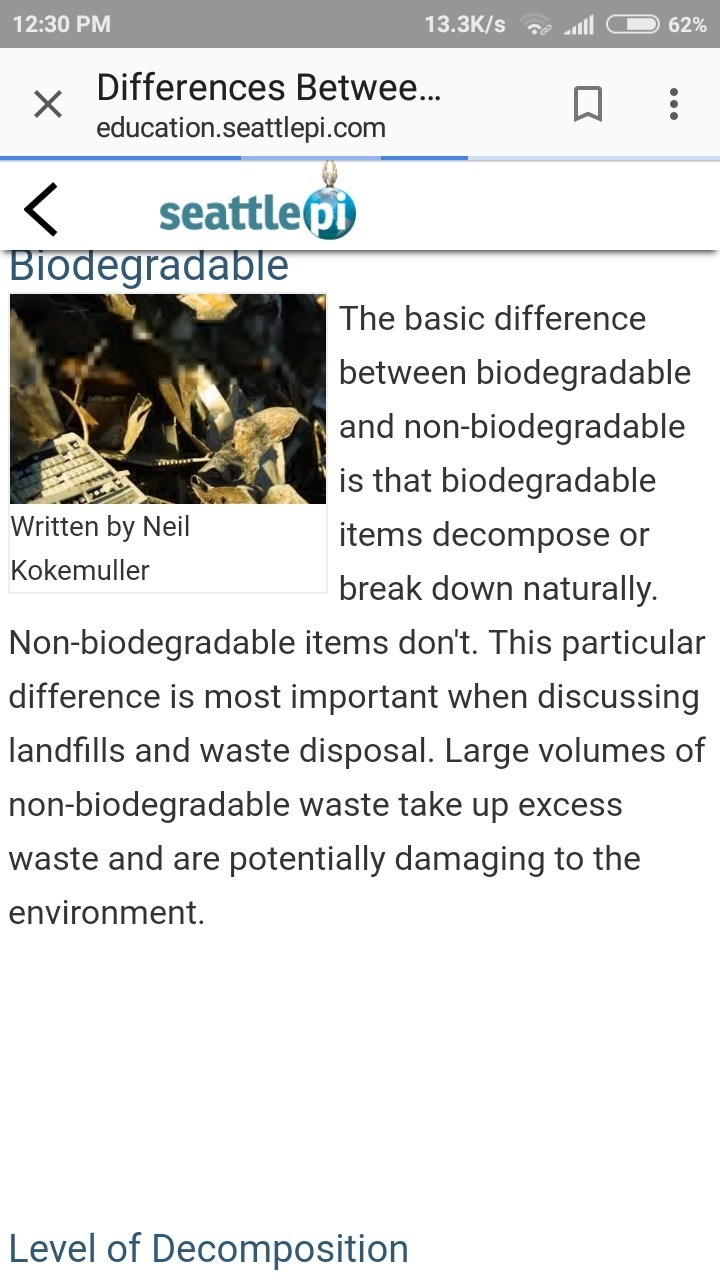 information about biodegradable and nonbiodegradable substances