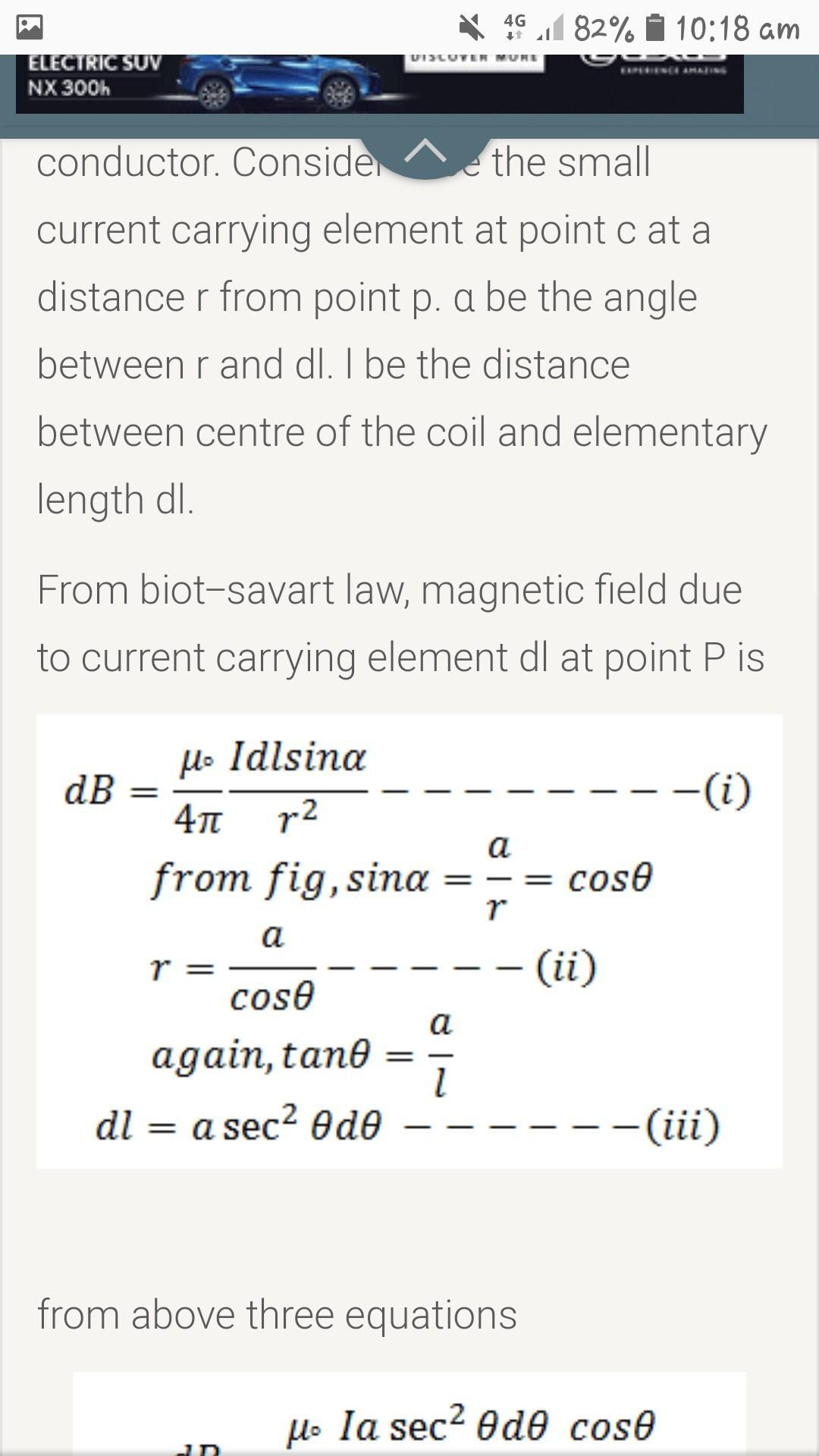 Use biot-savart's law to derive an expression for the