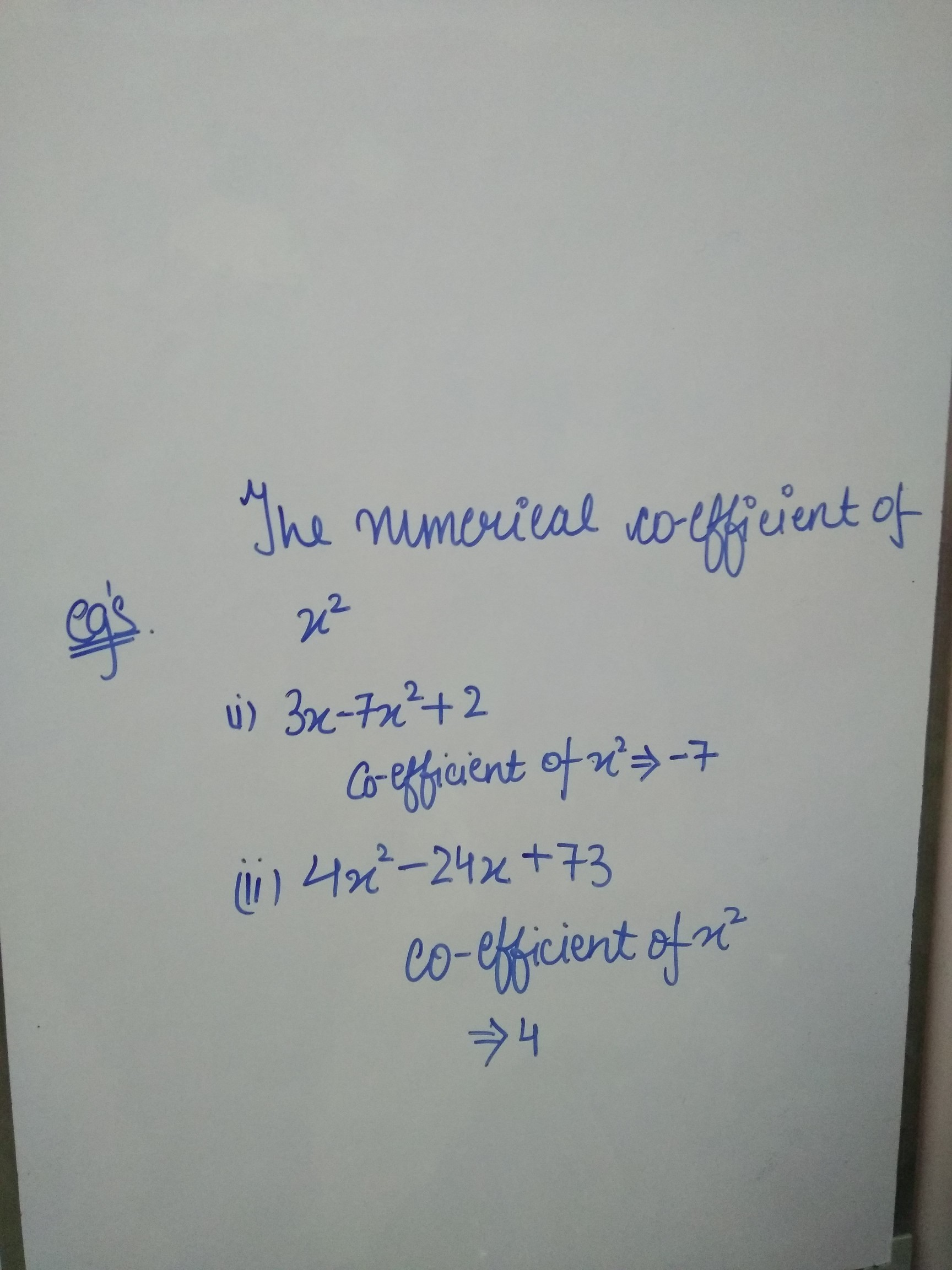 How To Find Numerical Coefficient Of X Square Brainly In