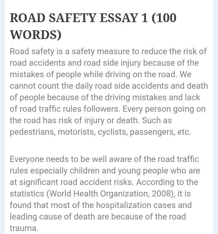 write an article on road safety in about words in  jpg