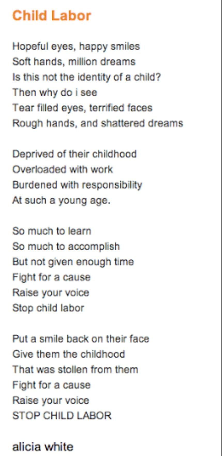 child labor poems