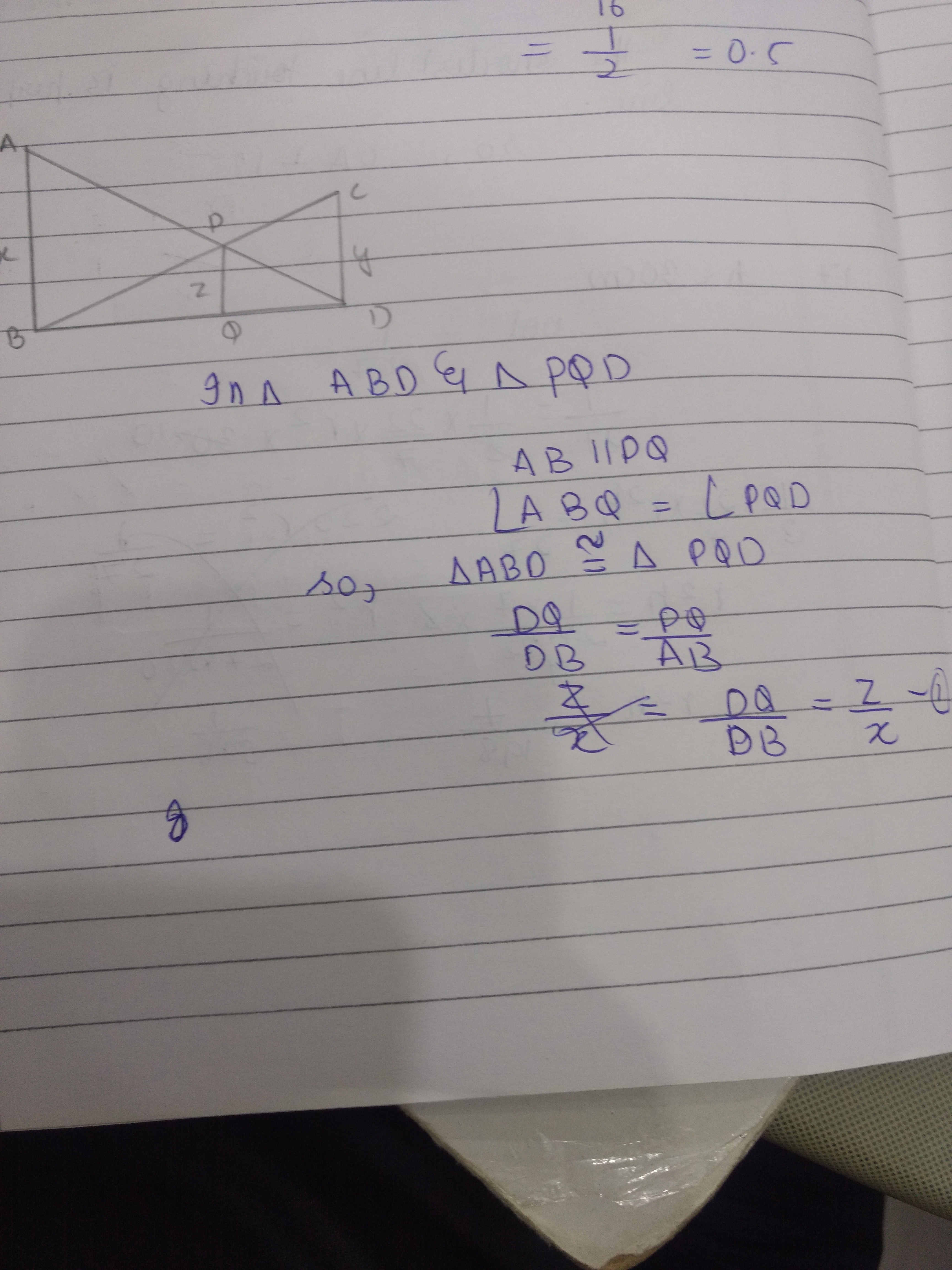 In the given figure, AB parallel to PQ parallel to CD, AB= x units