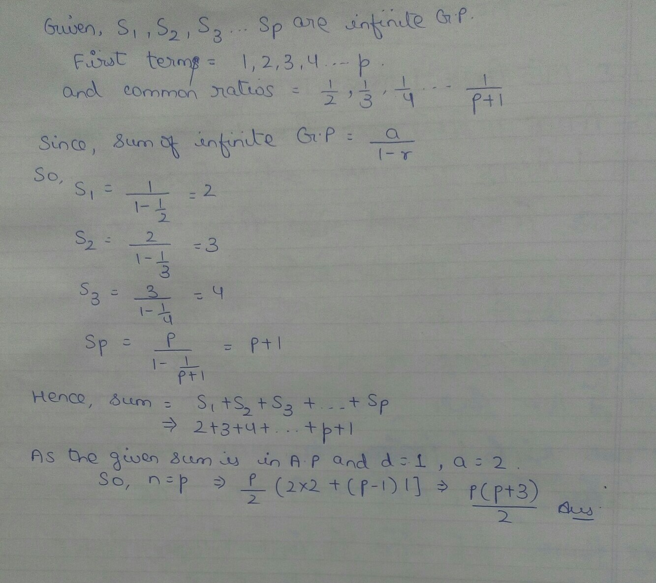 if s1,s2,s3   sp are the sum of infinite geometric series