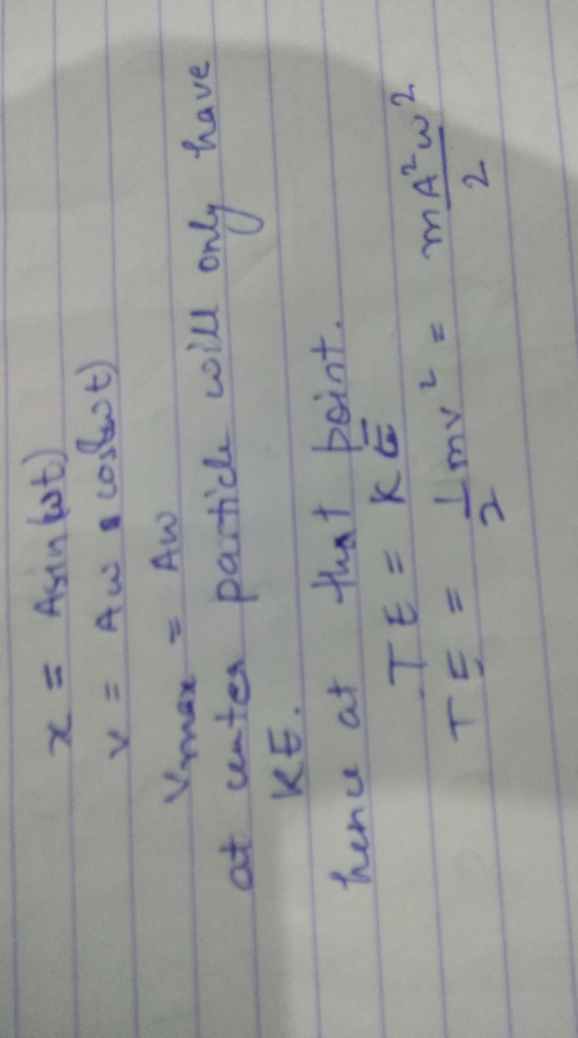 Derive an expression for the total energy of a particle