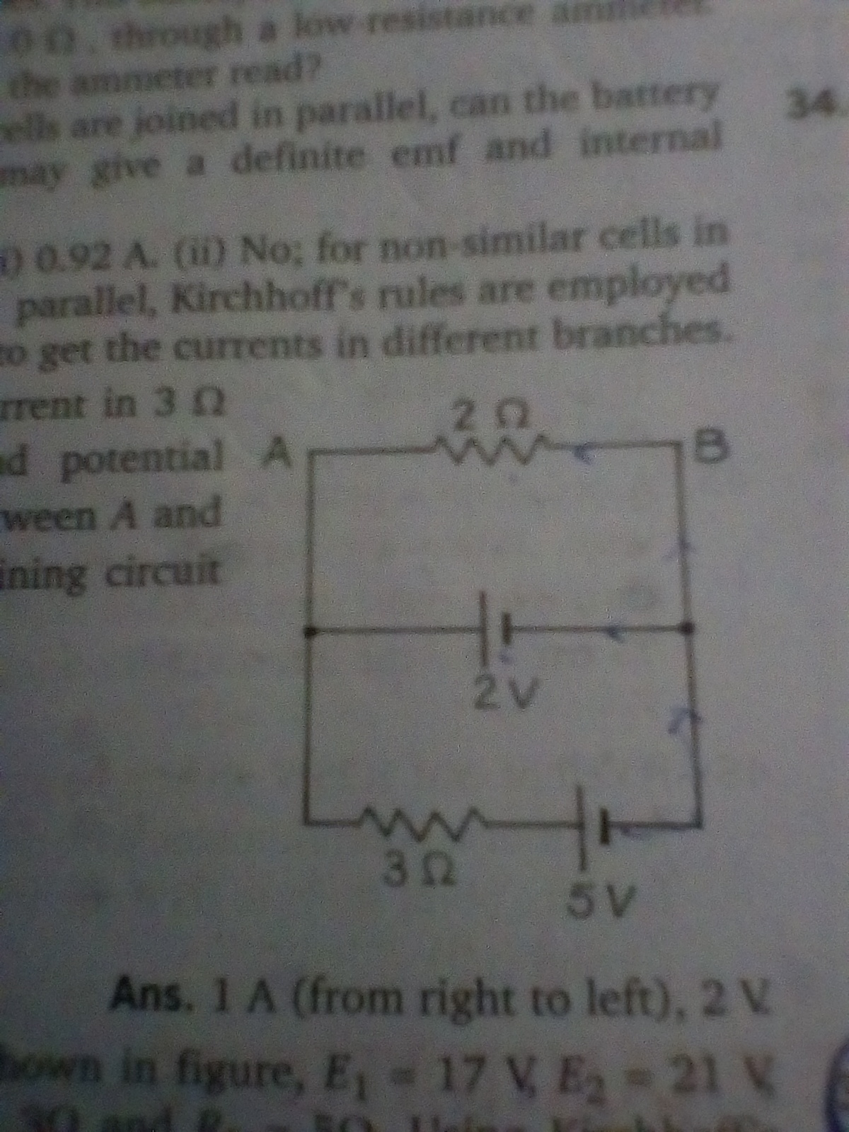 Determine Current In 3 Ohm Resistor And Potential Difference Across Differences A Battery Each Circuit B