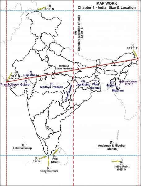 On a physical map of India mark the following: - i) North-South ...
