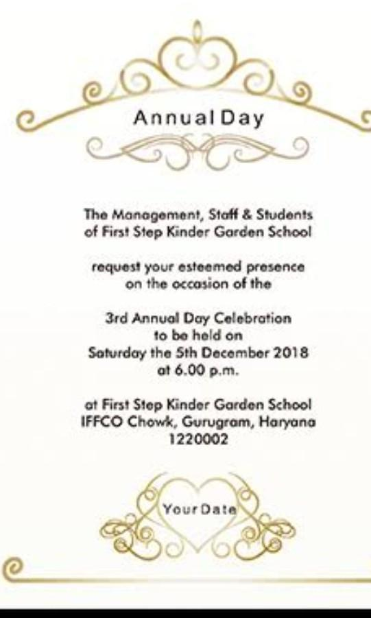 Design An Invitation Card For Your School Annual Day