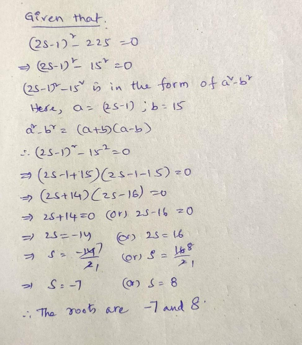 Quadratic Equation By Extracting Square Roots 2s 1 225 0 Brainly In √289 = 17, as 17 x 17 = 289. quadratic equation by extracting square