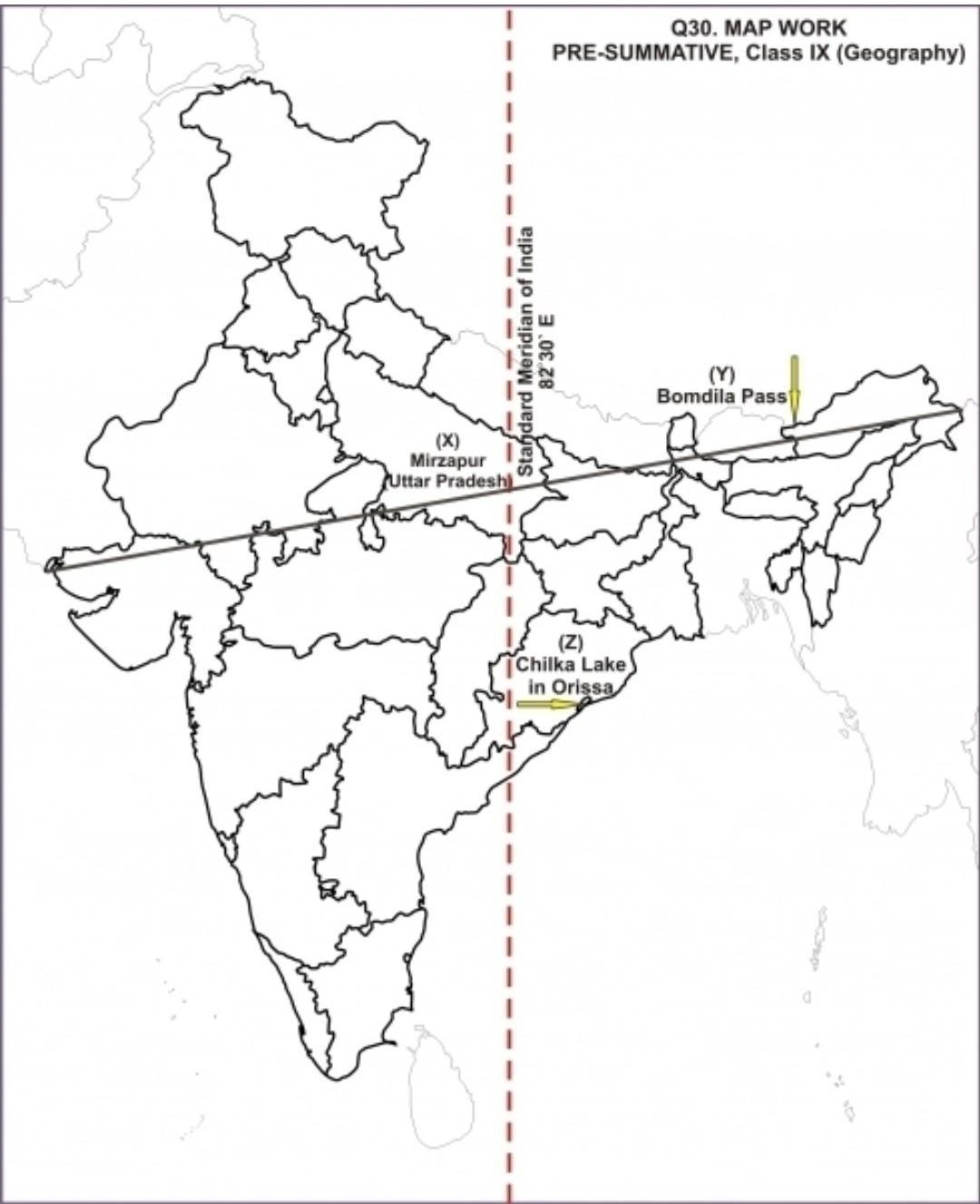 Mark the westernmost meridian of India on a India map ...