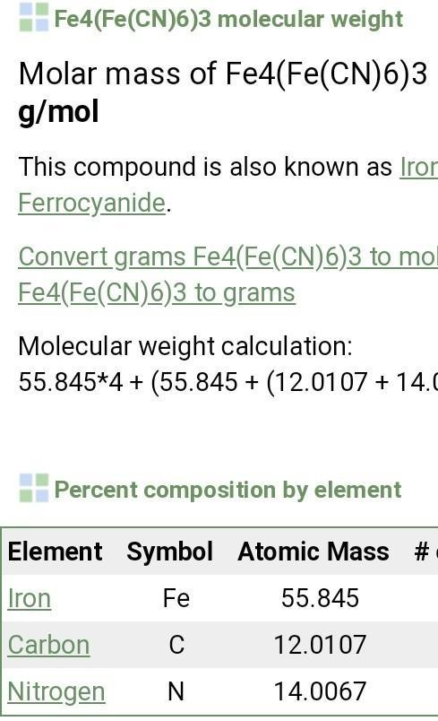 Fe4 Fe Cn 6 3 Find1 Atomic Mass 2 Molecular Mass Brainly In