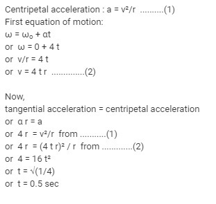 A particle is moving with the constant angular acceleration of 4 rad