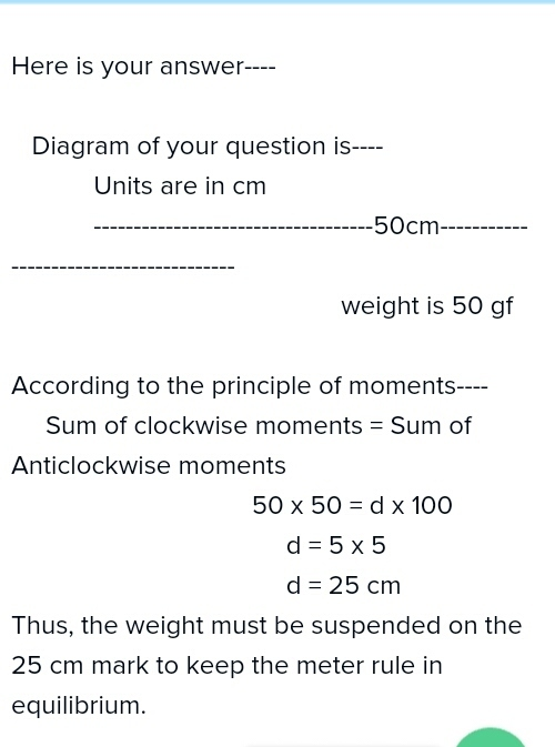 A Uniform Metre Rule Is Pivoted At Its Midpointa Weight Of 50 Gf Is