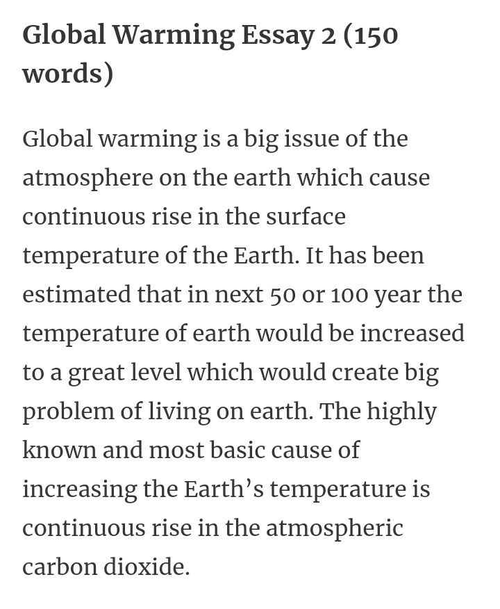 global warming essay for class in  words  brainlyin download jpg