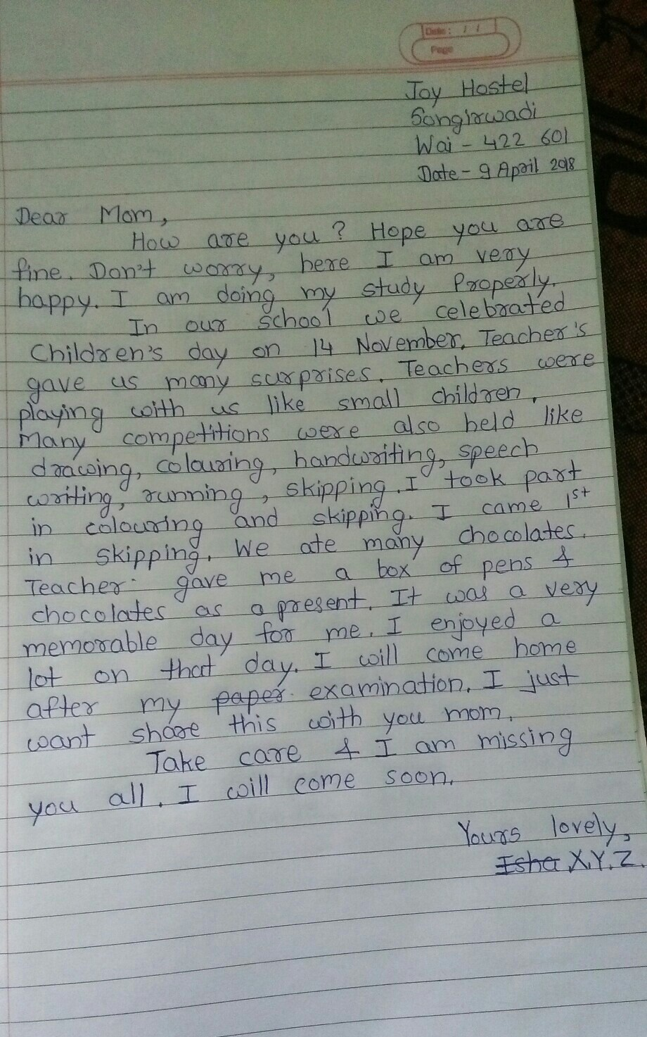 6b71f614e89 Write a letter to your mother describing how celebrated the children ...