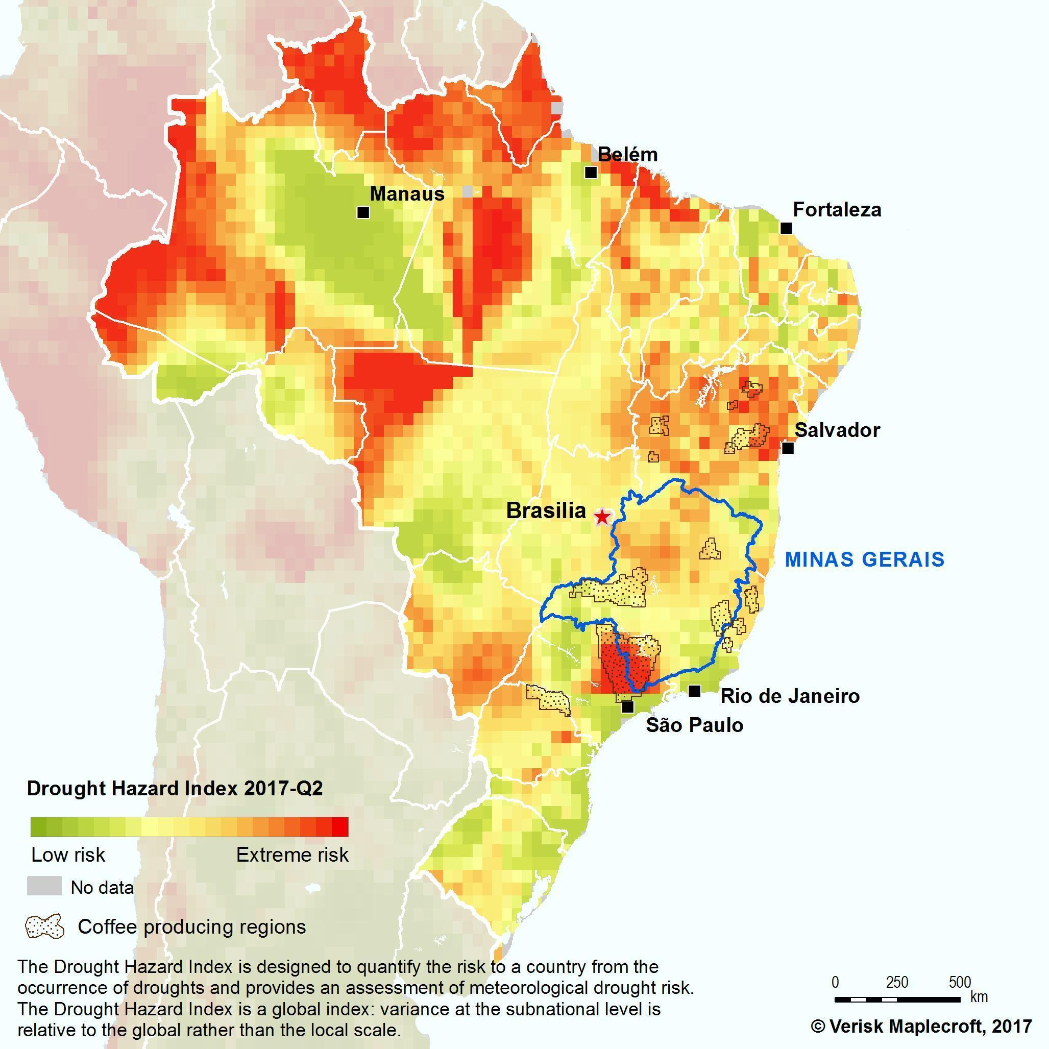 where is drought quadrilateral in brazil map - Brainly.in