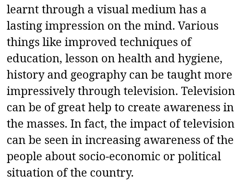 essay on impact of television on students of  words