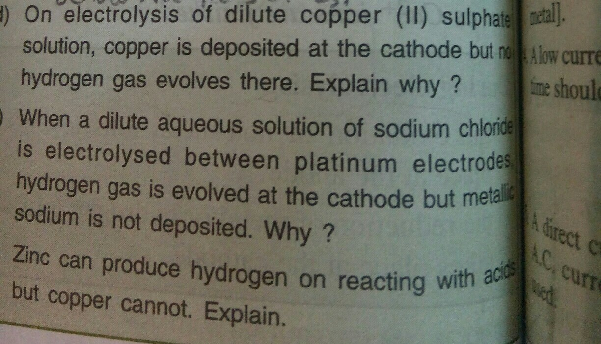 on electrolysis of dilute copper 2 sulphate solution copper