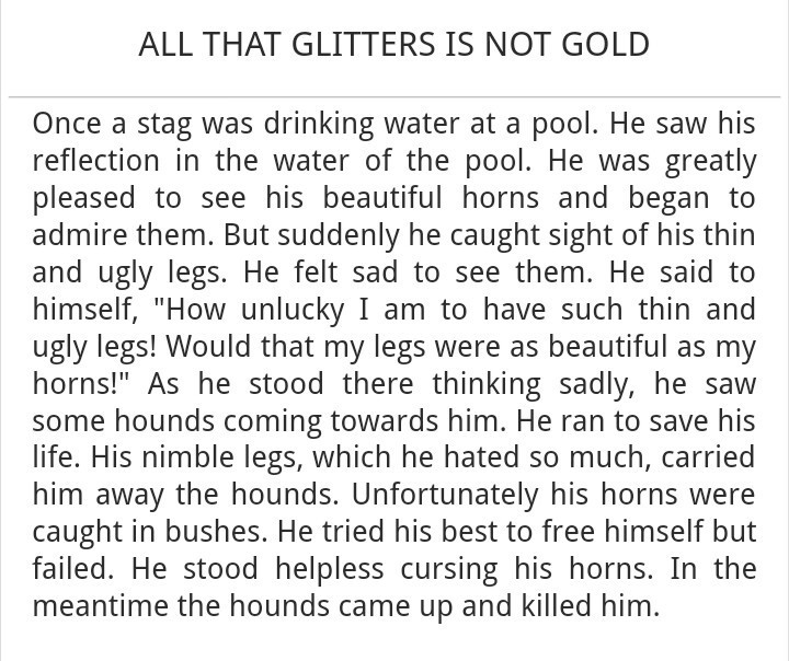 All that glitters is not gold story writing