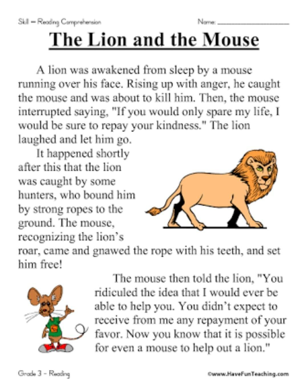 Lion and mouse story in sunlit - Brainly in