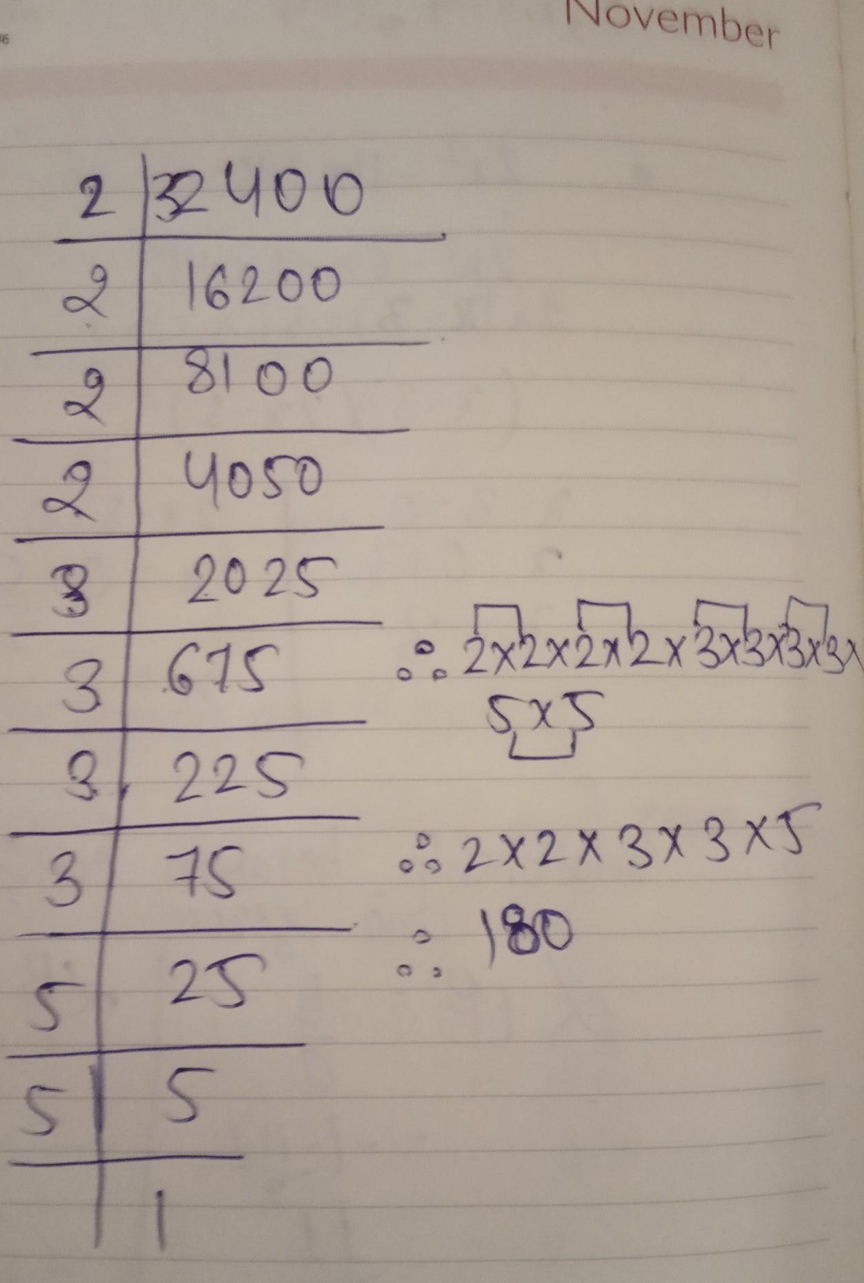Find The Square Root Of 32400 By Prime Factor Method Brainly In (73^2)<5432<(74^2) then we choose form two threshold x1=73 & x2=74 nearest number to our. find the square root of 32400 by prime