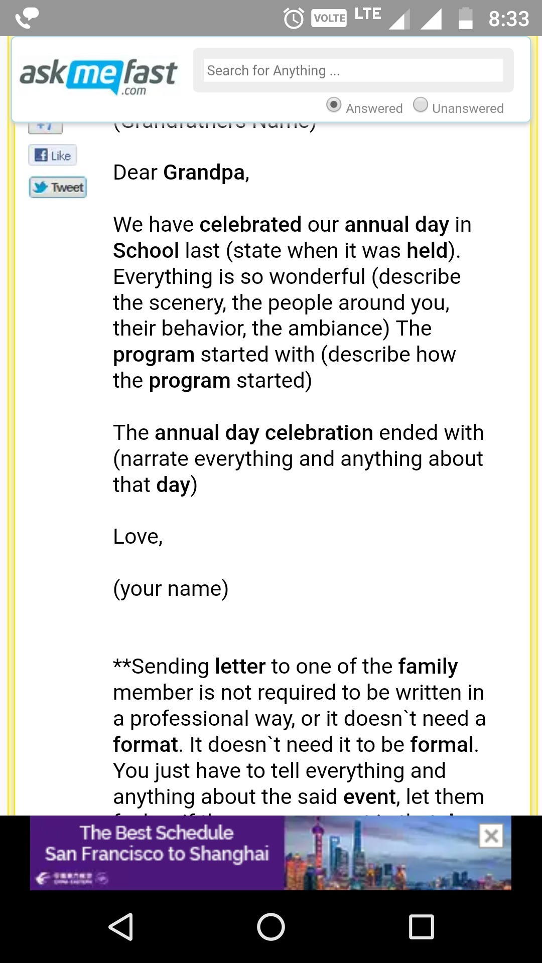 Write The Letter To Your Grandfather To Your Annual Function