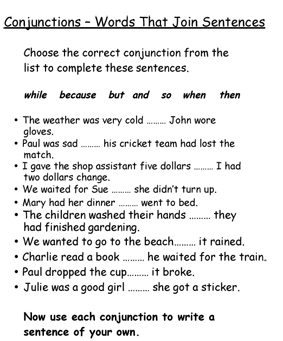 Conjunction worksheets - Brainly in