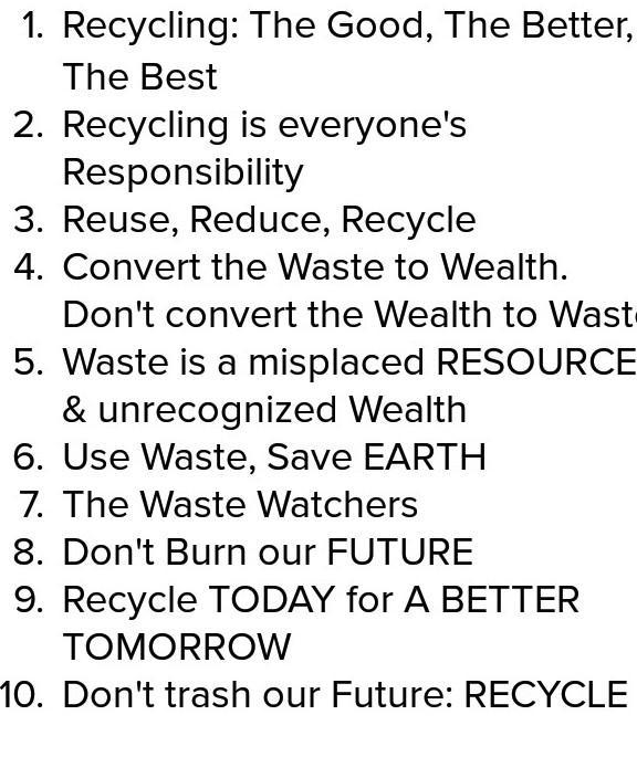 Top 10 slogans  On solid waste management - Brainly in