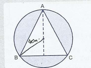 Abc is an equilateral triangle inscribed in a circle of radius 4 abc is an equilateral triangle inscribed in a circle of radius 4 cm find the area of shaded reigon leave the answer in pie or surds form ccuart Images