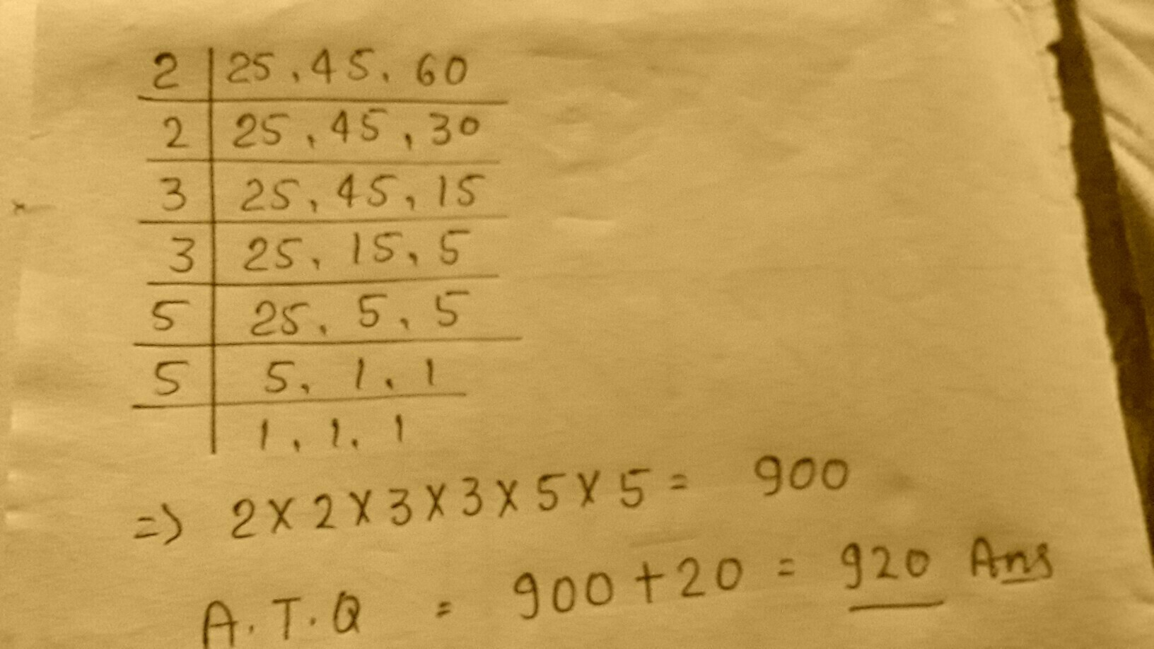 Find The Least Number When Divided By 25 45 And 60 Leaves A