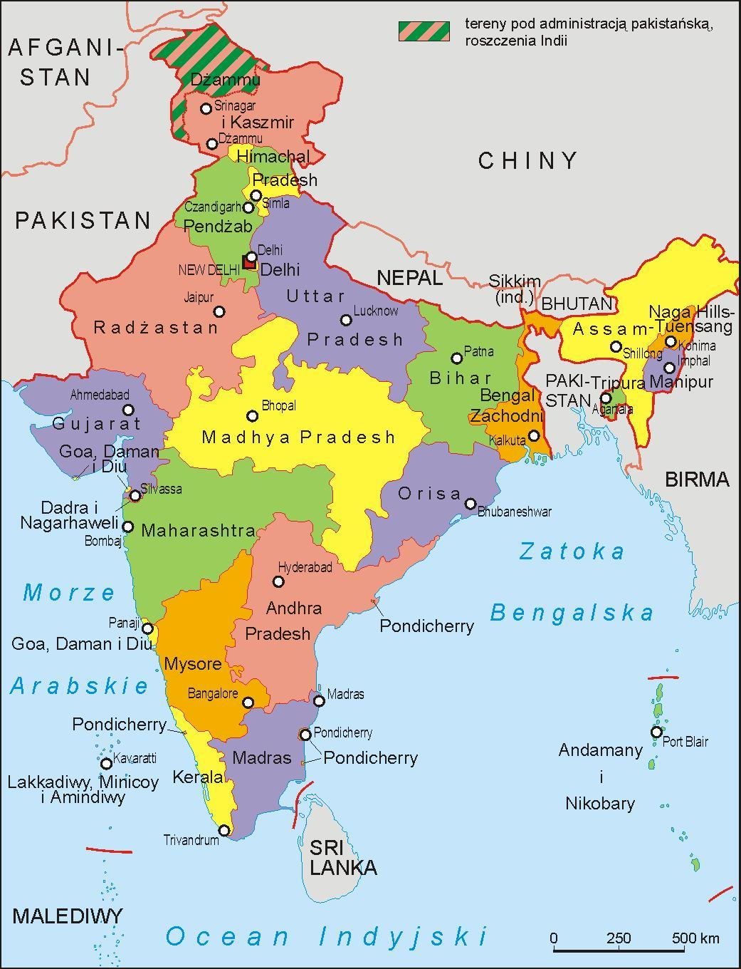 Learn and write the states of India and their capitals and show them on