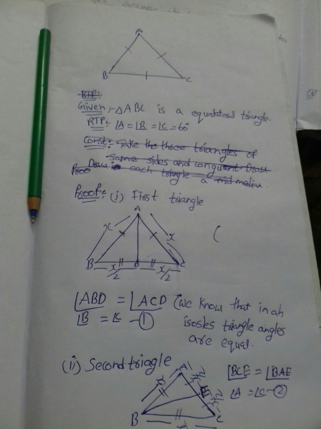 Show that the angles of an equilateral triangle are 60