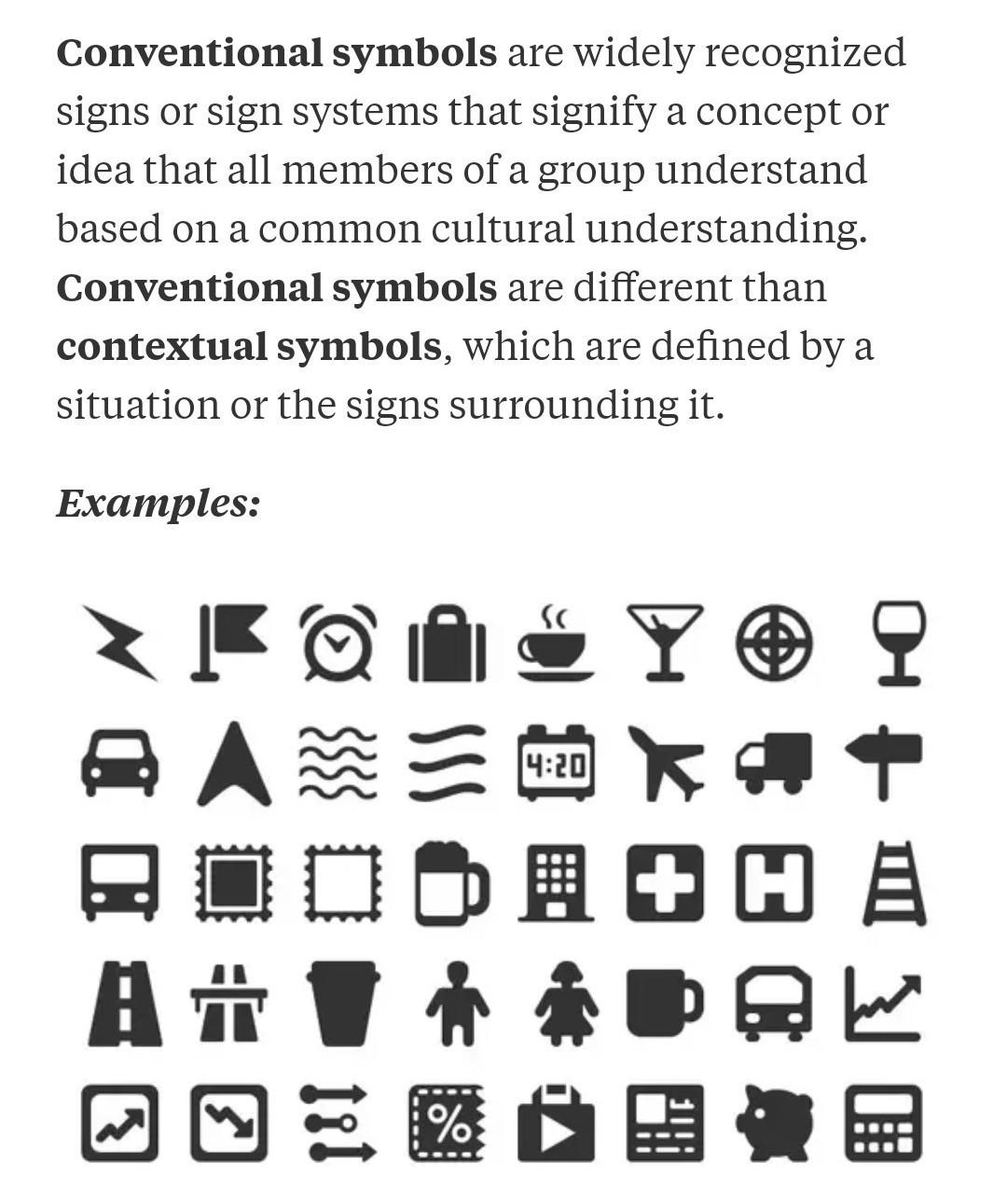 What Ate Conventional Symbols Brainly