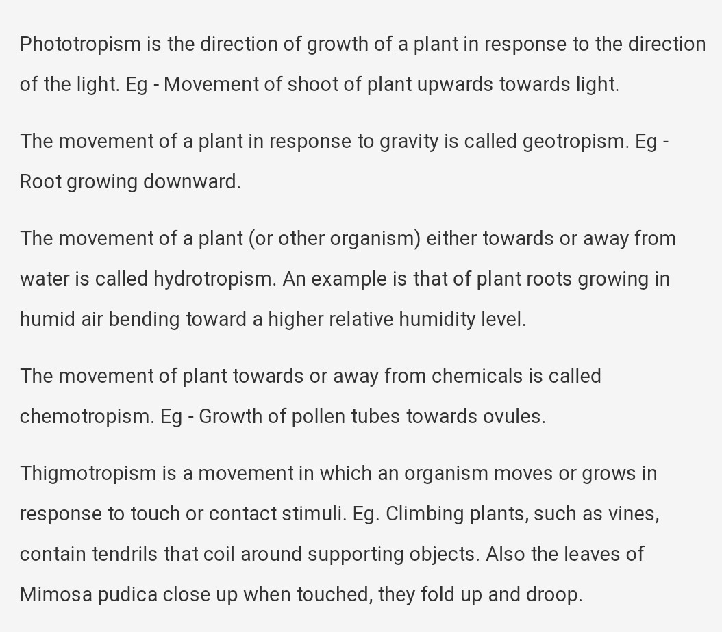 Give One Example Of Each 1 Phototropism 2 Chemotropism 3